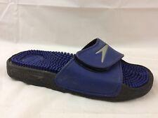 Speedo Boys 5 Youth Shower Sandal Slides Massage Shoe Blue Silver Comfort Casual