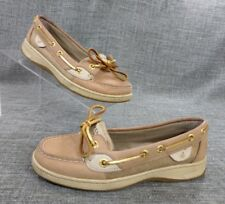 Sperry Top-Sider Women's 5 M Tan & Gold Leather Mesh Boat Deck Mocs Shoes