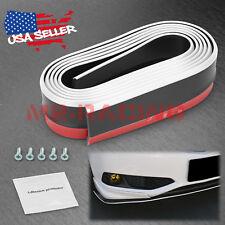 Universal White / Black Rubber Front Bumper Lip Splitter Spoiler Chin Body Kit