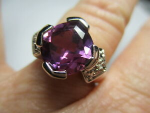 STERLING SILVER ROSS SIMONS PURPLE TOPAZ WITH DIAIMOND ACCENTS RING SIZE 7.25