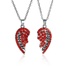 """Mother Daughter"" Set of 2 Women Necklaces Pendants crystal Red Broken Heart S37"