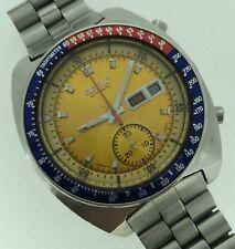 Seiko Vintage Pogue Automatic Chronograph Yellow Dial Pepsi Bezel 6139-6005