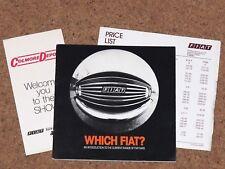 1978 FIAT RANGE Sales Brochure & Price List -X1/9 126 127 128 132 Mirafiori Vans
