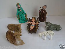 Vintage 8 Piece Nativity Figurines Hard Plastic Made In Italy
