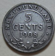 1908 Newfoundland Silver Five Cents Coin
