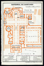 Antique Map-SPAIN-PLAN OF THE CATHEDRAL OF SANTIAGO-Karl Baedeker-1913