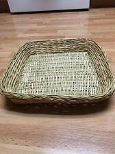 "Vintage Wicker/Rattan Bread Pastry Basket Square 13.5"" X 13.5"""