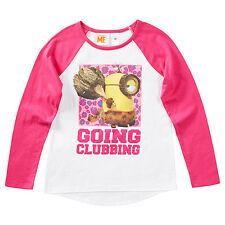 DESPICABLE ME MINIONS GOING CLUBBING GIRL'S PINK & WHITE LONG SLEEVE T-SHIRT 7