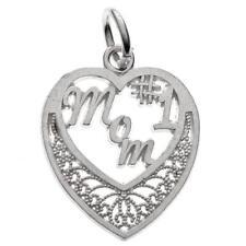 Vintage Sterling Silver #1 Mom Heart Charm for Bracelet or Pendant 925 1.1g R332
