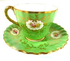 COALPORT PORCELAIN MINIATURE DEMITASSE COFFEE CUP & SAUCER GREEN GROUND FLOWERS