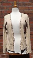 Monsoon Beige Cardigan Open Front Long Sleeve Cotton Size 14
