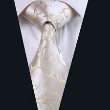 Classic Beige Floral Silk Tie Set Mens Wedding Necktie Lot Jacquard Woven Party