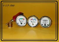 White Face Early Oliver Tractor Temperature + Oil Pressure + Ammeter Gauge (Set)
