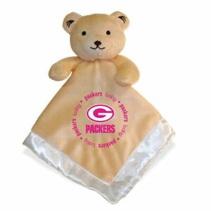 Green Bay Packers Baby Fanatic Security Pink Bear Blanket, NFL Hologram 14 X 14
