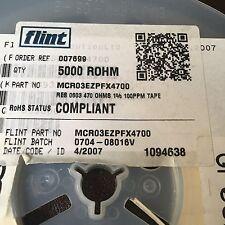 MCR 03 EZPFX 4700 ROHM Semiconductor MCR Series 0603 470 ω ± 1% 0.1 W ± 100 PPM/° C