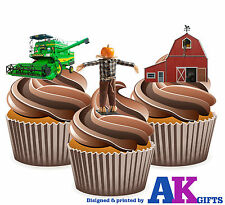 12 X Farmers Edible Wafer Cake Toppers Mix Combine Harvester Scarecrow Farm Barn