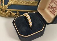 Vintage Jewellery Gold Band Ring with White Seed Pearls Antique Deco Jewelry M