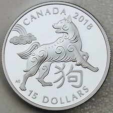 Canada 2018 $15 Year of the Dog, 1 oz. 99.99% Pure Silver Proof Coin