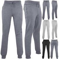 Mens Elasticated Waist Fleece Slim Fit Gymming Pants Jog Joggers Track Trouser