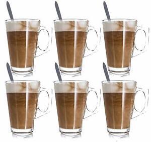 6 x 240ML LATTE GLASSES TEA COFFEE CAPPUCCINO GLASS CUPS HOT DRINK MUGS w SPOONS