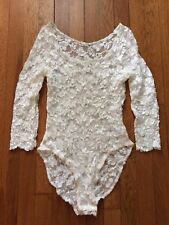 Vintage HANKY PANKY Women's Lace Long Sleeve Bodysuit Leotard Size Small