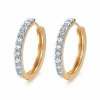 18k yellow white gold 2-tone huggies made with Swarovski crystal earrings hoop
