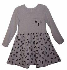 KLEID 134 Grau mit Katzen langarm Mädchenkleid Herbstkleid Schulkleid