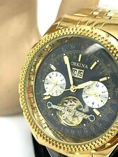Orkina Automatic Men's Gold Tone Stainless Steel Blue Dial 45mm Analog Watch