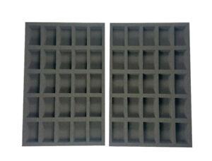 Wargaming Figure Foam Tray Set - 50 Figures Total (30mm Depth)