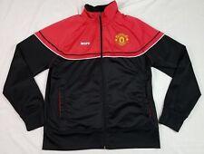 MANCHESTER UNITED Mens Track Jacket L LARGE Soccer Football UK Black Red