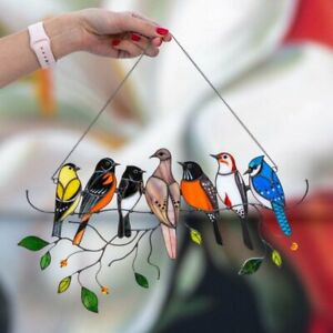 Multicolor Stained Glass Birds-On-A-Wire Window Panel Hanging Pendant Home Decor