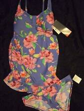 NWT ~ OH BABY by MOTHERHOOD blue floral 2 pc maternity swimsuit ~ womens S 4 6