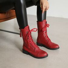 2020 New Stylish Round Toes Mid-Calf Flats Heels Casual Boots Lace Up Shoes