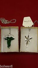 Lord of The Rings Green Leaf Elven Pin Necklace & Arwen Evenstar Pendant necklac