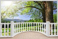 Huge 3D Balcony Beautiful Green Meadow Wall Stickers Film Wallpaper S44