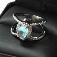 2 Ct Pear Blue Moonstone Halo Ring Women Jewelry 14K White Gold Plated Free Ship