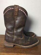 ARIAT Cowboy Boots Womens 7 1/2 B Brown Distressed Leather Cowgirl Pink Western