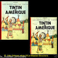 Tintin en Amérique  Ancien Album Hergé B1 B3 Edition Casterman 1946 1949 Lot BD