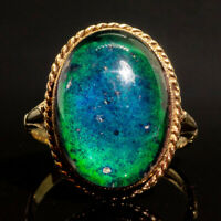 Vintage 70's Mood Ring 9ct Gold Solitaire Cabochon Signet 1972
