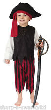 Boys Black Red Caribbean Pirate Party Halloween Fancy Dress Costume Outfit 3-4yr