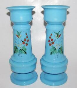 Pair Victorian Blue Bristal Glass Enameled Flowers Birds Berries no chips