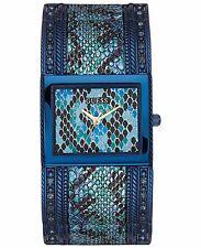 GUESS Women's Blue Python Print Ion-Plated Cuff Bracelet Watch 24x30mm U0622L1