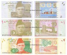Pakistan 5 + 10 + 20 RUPIE Set di 3 BANCONOTE 3 PZ UNC
