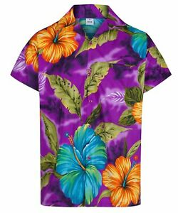 MENS HAWAIIAN SHIRT HIBISCUS FLORAL STAG BEACH HOLIDAY SUMMER FANCY DRESS S -2XL