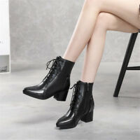 Women's Gladiator Pointed Toe Lace Up Ankle Boots Block Heels Casual  OL Shoes