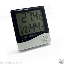 Digital TEMP Humidity Clock Thermometer Hygrometer Luftfeuchtigkeitsmesser HTC-1