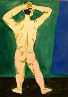 RALPH DUBIN 1919-1988 MODERNIST ABSTRACT MALE NUDE STUDY PAINTING NEW YORK CITY