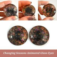 30mm Bold Color Changing Glass Eyes Animated Holographic Cab Pair Jewelry Making