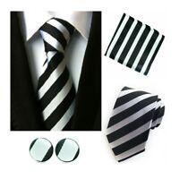 Tie Pocket Square Cufflinks Black Silver Stripe Set Individual 100% Silk Wedding