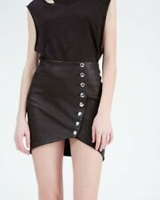 "$600 IRO ""CLEFA"" ASYMETRICAL BUTTON ADORNED LEATHER SKIRT, SZ IT/38 US/4 BLACK"